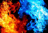 Red and blue fire on balck background — Stock Photo