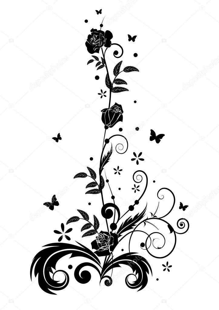 玫瑰与蝴蝶矢量设计元素