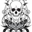 Royalty-Free Stock Vektorfiler: Skull and butterfly