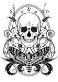头骨和蝴蝶 — 图库矢量图片