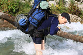 Backpackers in the hike — Stock Photo