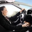 Happy woman drive car — Stock Photo