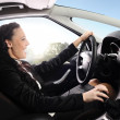 Happy woman drive car - Stock Photo