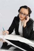 Business woman talking by phone — Foto de Stock