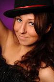 Beauty woman in silk hat — Stock Photo