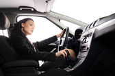Businesswoman drive the car — Stock Photo