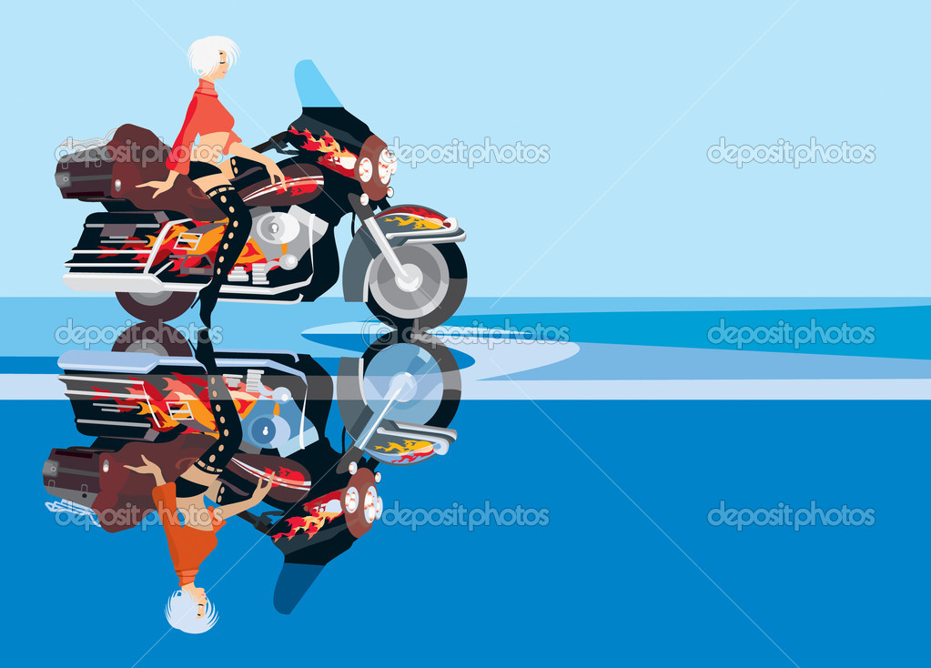 Vector image of biker girl on motorcycle — Stock Vector #4836714