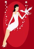 Bride in white dress — Stock Vector
