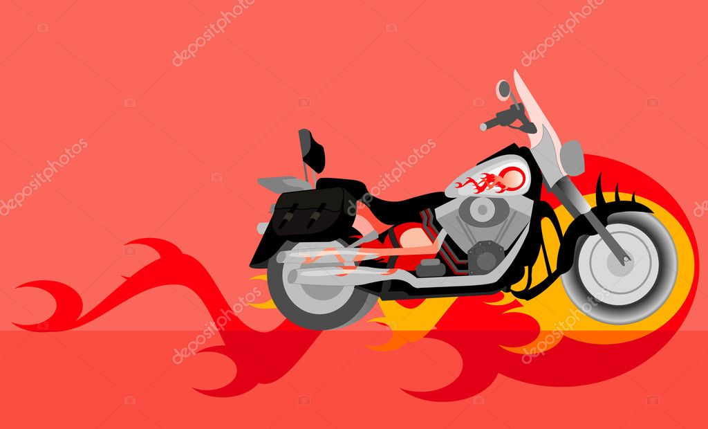 Vector image of motorcycle with flame — Stock Vector #4844059