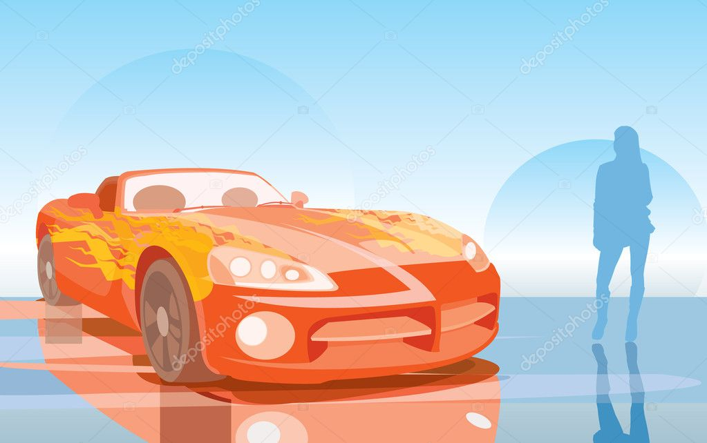 Vector image of orange fast car — ベクター素材ストック #4854161