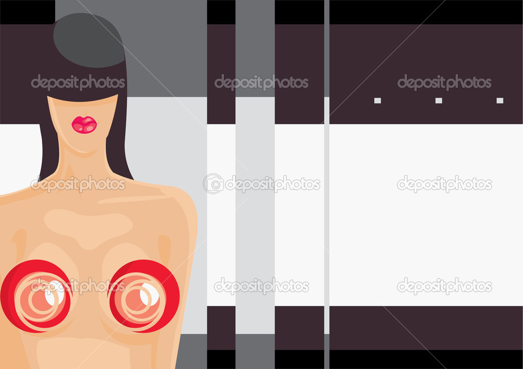 Vector image of composed girl and blank area for your info. good use for party cards and posters — Stock Vector #4854184