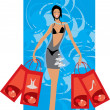 Buyer with few bags after shopping - Stock Vector