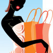 Pretty woman with purchases — Stock Vector
