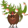 Bull with xmas tree - Stock Vector