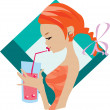Stock Vector: Drinking girl