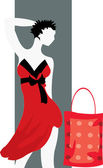 Buyer in red dress with purchases — Stock Vector