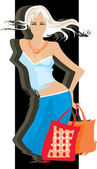 Girl with bags — Stock Vector