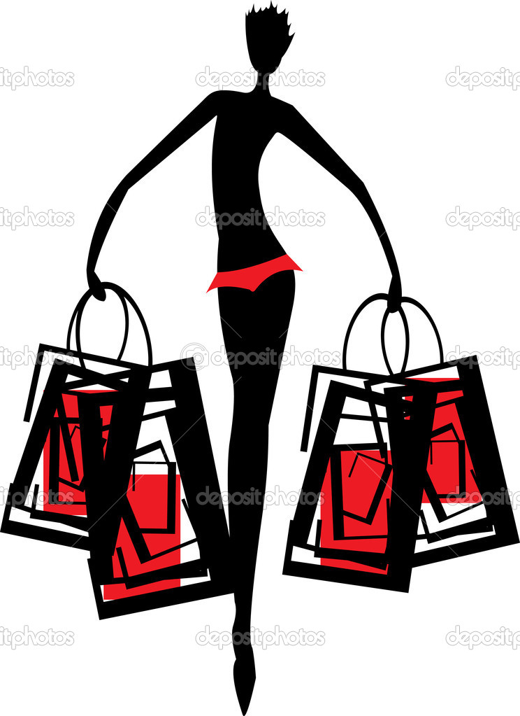 Vector image of silhouette of woman with handbag after shopping isolated on white — Stock Vector #4869439