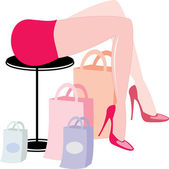 Woman's legs and purchases — Stock Vector
