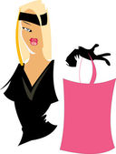 Pretty woman with bag — Stock Vector