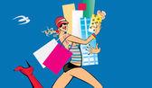 Shopping run — Stock Vector
