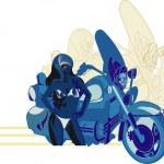 Bikier lady in blue colors — Stock Vector