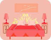 Bedroom interior — Stock Vector