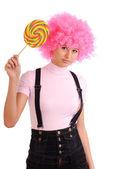Teenager with lollipop — Stock Photo