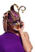 女性は、電話で話す — ストック写真