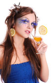 Girl with orange drink — Stock Photo