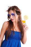 Flicka med apelsinjuice — Stockfoto