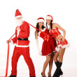 SantClaus pull two girls — Stock Photo #5077948