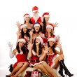 Royalty-Free Stock Photo: Screaming women and Santa Claus