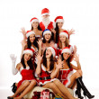Screaming women and Santa Claus - Stock Photo