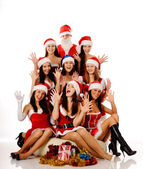 Screaming women and Santa Claus — Stock Photo
