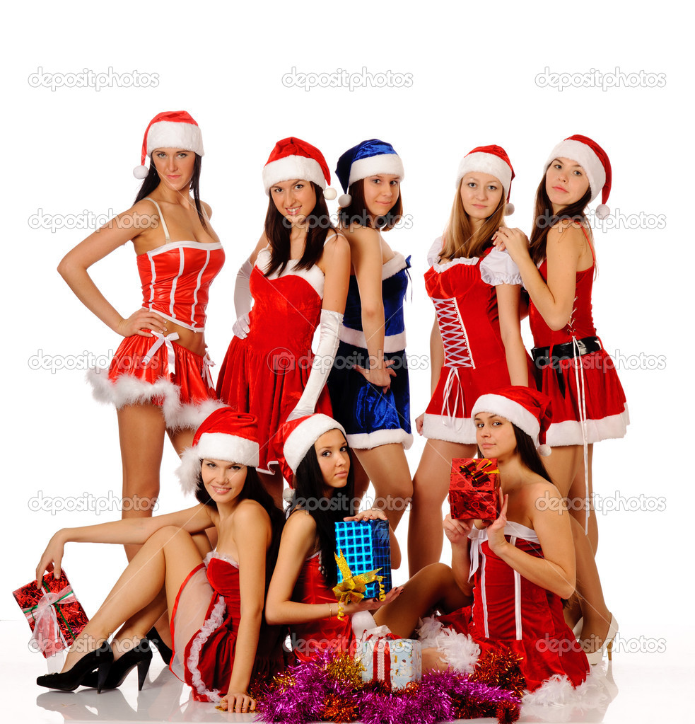 Women In Christmas Costumes Stock Photo Teamtime 5077944