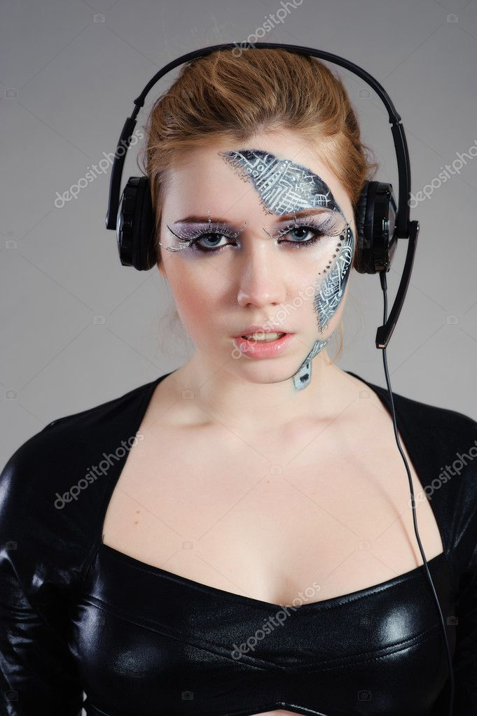 Beautiful cyber woman isolated on grey background — Stock Photo #5118826