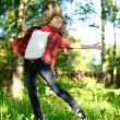 Jumping woman — Stock Photo