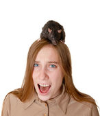The scared girl with a rat on a head — Stock Photo