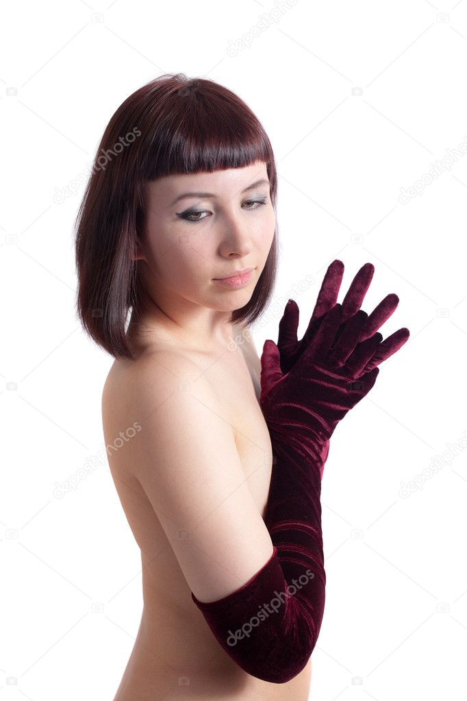 Portrait of the romantic girl in gloves — Stock Photo #4918314
