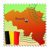 Brussels - capital of Belgium. Vector stamp — Stock Vector