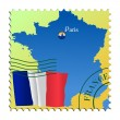Paris - capital of France. Vector stamp — Stock Vector