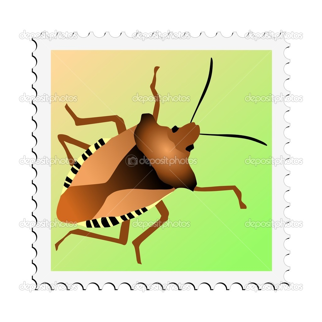 Colored stamp of insect. Forest bug — Stock Vector #4557424