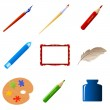 Set of art objects — Stock Vector