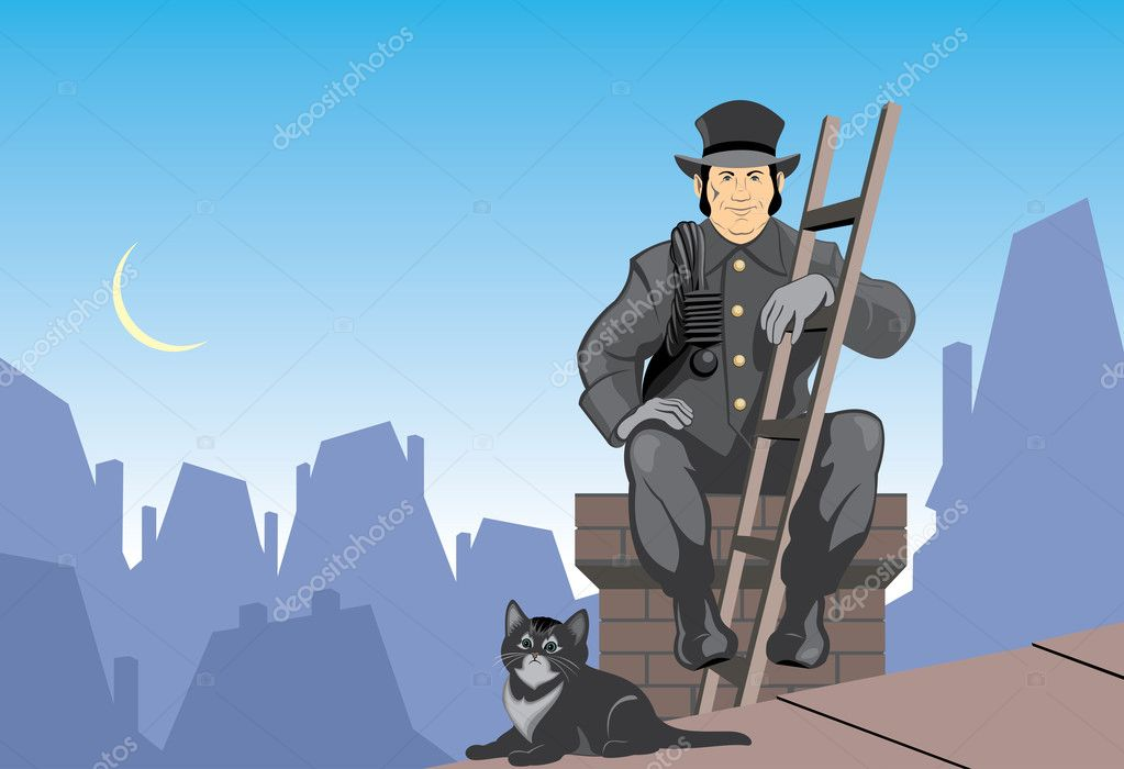 Vector illustration chimney sweep and cat resting on the roof  Stock Vector #3979200