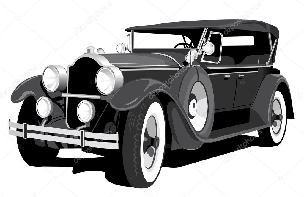 Vector black retro car isolated on white background — Stock Vector #3979300