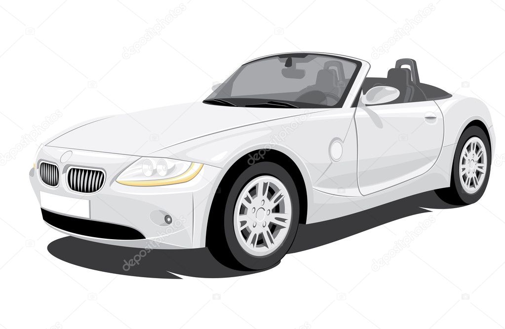 Convertible Car on white