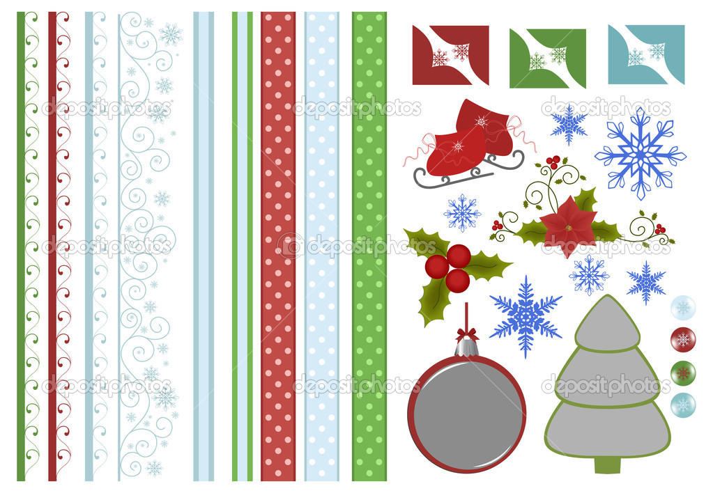 Scrapbook elements. Collection of christmas decors — ベクター素材ストック #4215984