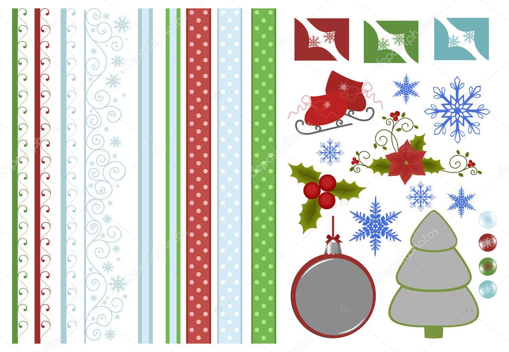 Scrapbook elements. Collection of christmas decors — Vettoriali Stock  #4215984