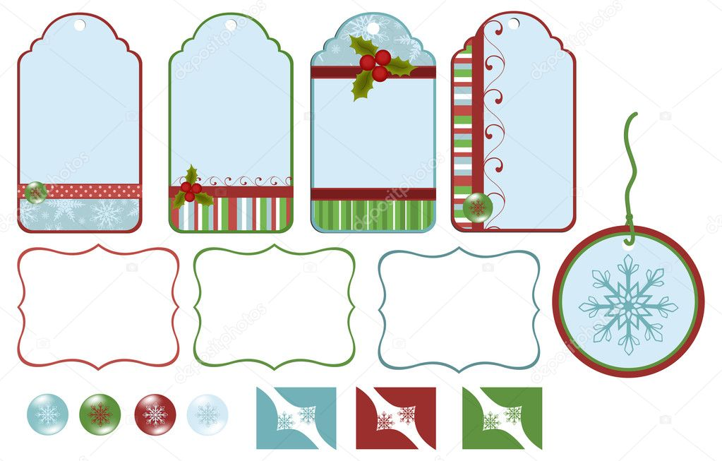 Scrapbook elements. Collection of christmas tags — Stock Vector #4215993